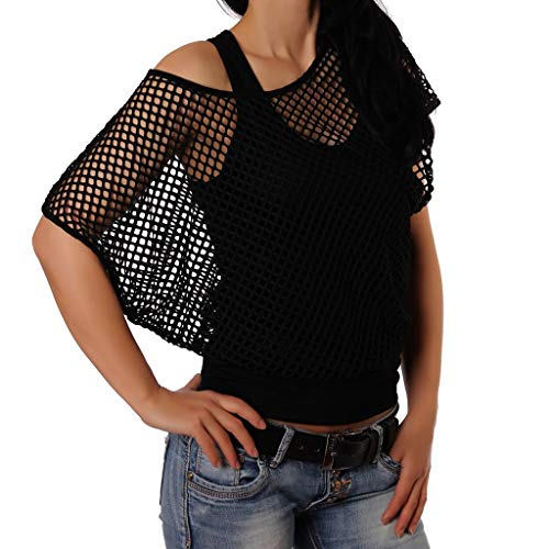 routinfly Ausverkauf 2023 Neue Damen Casual Top Bluse lose T-Shirt,Offenes Mesh-Top für Damen Zweiteilige Weste Net Gaze Jacke Weste Zwei lässige Kurzarmshirts S-XXL
