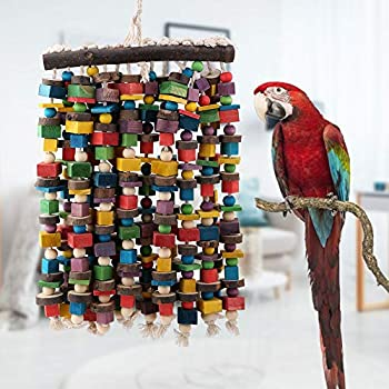 Oiseau À Mâcher Jouet Coloré Perroquet Noeuds Blocs Jouet en Bois Heavy Duty Oiseau Morsure Jouets Suspendus Oiseau À Mâcher Jouet Debout pour Moyen Grand Oiseau