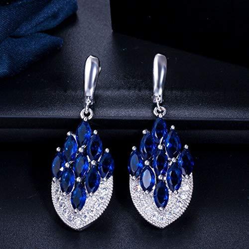 Pendientes largos de cristal rojo púrpura con forma de ancla colgante para mujer, accesorios de joyería,azul