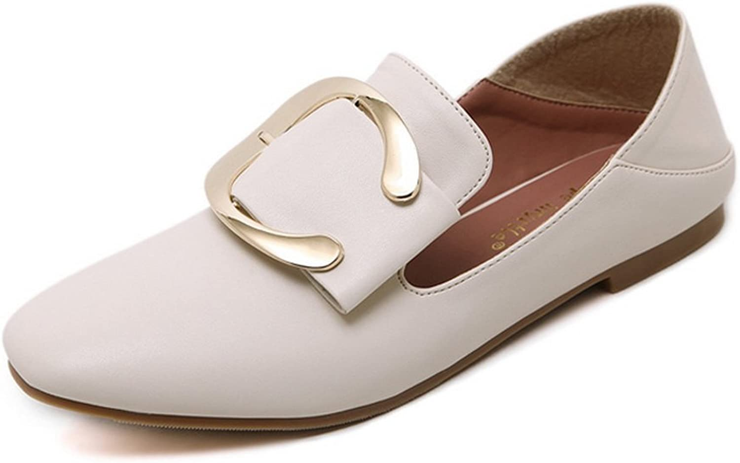 1TO9 Womens Buckle Square-Toe No-Closure Beige Urethane Flats shoes - 5 B(M) US