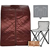 KUPPET Portable Infrared Home Spa, Infrared Negative Ion Portable Sauna, with Heating Foot Pad and Chair, Remote Control, 30 Minutes Timer (Infrared 36.6''H, Brown)