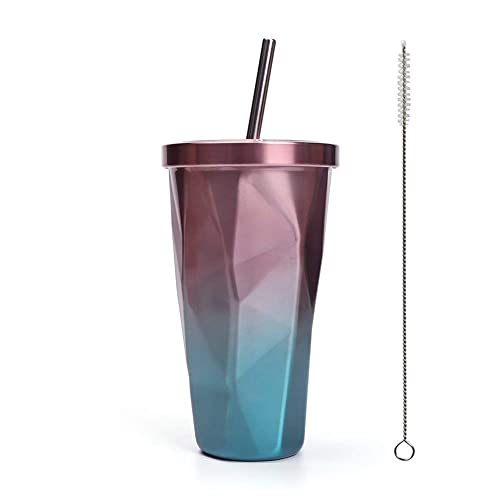 Double Layer Travel Portable Cup with Straw Sport Fruit Juice Water Bottle-UK