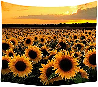 ASTIHN Retro Oil Painting Sunflowers Tapestry Wall Hanging Tapestry Blanket Decorate Home Bedroom Living Room (60x50 inche...