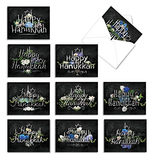 The Best Card Company - 10 Hanukkah Note Cards with Envelopes (4 x 5.12 Inch) - Religious Jewish Holiday, Boxed Notecard Assortment - Hanukkah Chalk And Roses M2358HKG