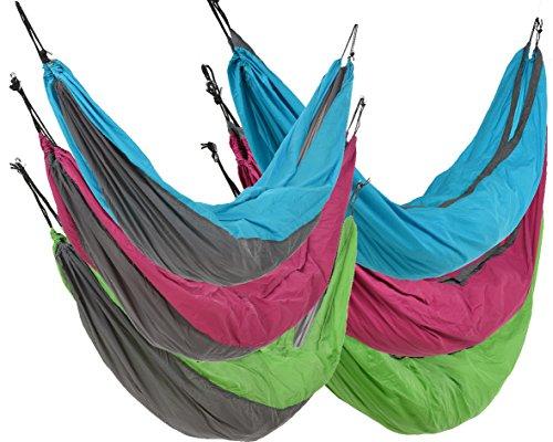 Time for Home Nylon hangmat, omkeerbare mat, grijs, kleurrijk, groen, roze, turquoise, dubbele ligstoel, campingligstoel, hangstoel, outdoor, camping, tuin, cocoon 140 x 275 grijs/turquoise.