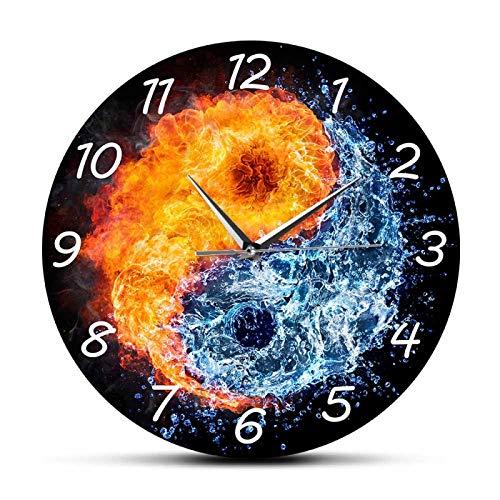 Relojes de Pared Relojes de Pared Fuego y Agua Yin Yang Balance Yoga Diseño Moderno Movimiento silencioso Zen Decoración para el hogar Arte de Pared de Taiji Espiritual