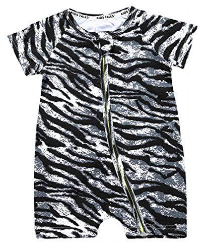 Plus Nao(プラスナオ) カバーオール ロンパース つなぎ 半袖 半ズボン 短パン 前開き ジップアップ ベビー服 総柄 デザイン豊富 チャック 100cm H