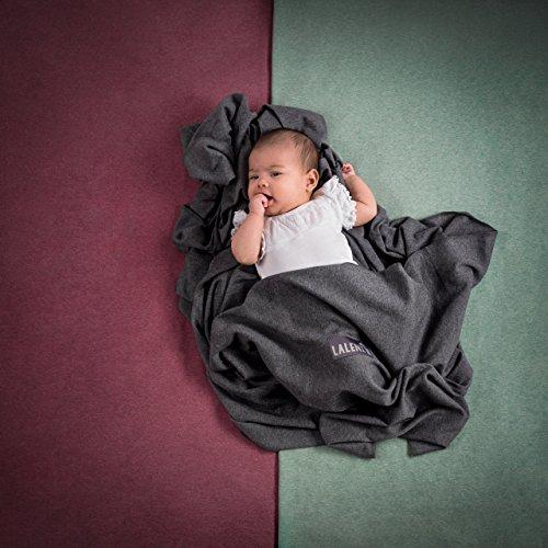 Babytragetuch | Babytrage | 100% Bio-Baumwolle | Tragetuch | Für Neugeborene Bis 15kg | Aus Europäischer Herstellung | Atmungsaktiv | Ohne Künstliches Elastan | Von Laleni (Grau) - 3