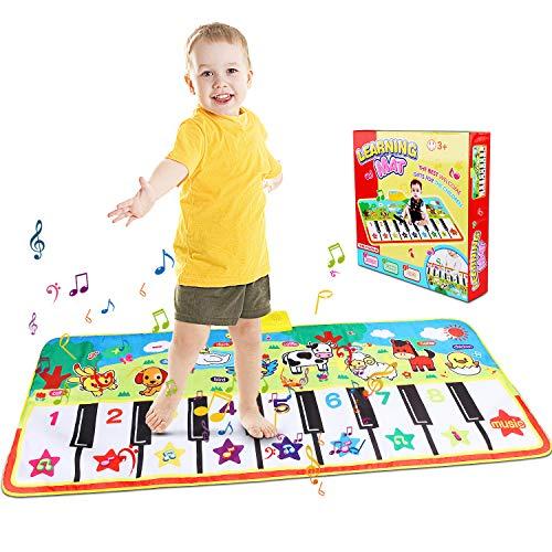 RenFox Piano Mat Tanzmatten Klaviermatte Musikmatte Kinder 8 Tierstimmen Klaviertastatur Spielzeug Musik Matte, Keyboard Matten Spielteppich Baby Tanzmatte für Jungen Mädchen Kinder (100 * 36 cm)
