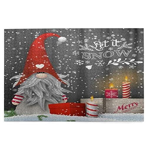 Rompecabezas de Navidad Escandinavo Enano Nieve Cajas de Regalo Velas 1000 Piezas de Madera Rompecabezas Rompecabezas, Regalo Creativo, Juego Educativo Clásico Juguetes para Adultos y Familias