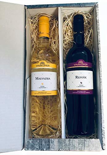 Geschenkbox mit Weisswein und Rotwein Geschenkideen aus Istrien im 2er Wein Geschenkset im Weihnachts Karton (Einweg)