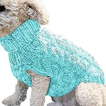 zwyjd Pull pour Chien Gilet Manteau Chaud Laine Pet Doux Tricot d'hiver Pull Overs tricotés Manteau Manteau Pull Souple Pet Dogs Jumper,Blau M.