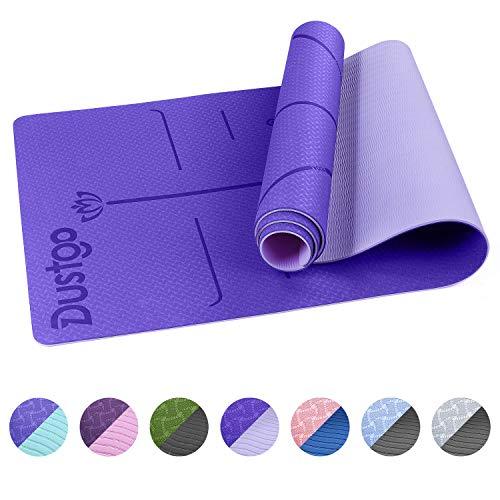 Dustgo Esterilla Yoga Deporte Colchoneta de 183cm x 63cm x 6mm Fitness Antideslizante con Material ecológico TPE con líneas corporales Yoga Mat