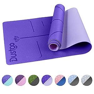 Dustgo 【Promoción】 Esterilla Yoga Colchoneta de Yoga Antideslizante con Material ecológico TPE con líneas corporales Yoga Mat diseñado para Entrenamiento y Entrenamiento físico