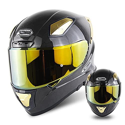 Casco De Fibra De Carbono para Motocicleta para Hombres Y Mujeres, Sistema De Seguridad De Liberación Rápida De Doble Lente Casco Modular De Cubierta Completa Anticolisión Certificación Dot ⭐