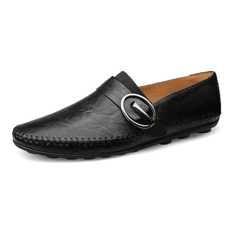 [ジョイジョイ] ドライビングシューズ メンズ レディース ベルト付き スリッポン 革靴 ビジネス カジュアルシューズ 紳士靴 柔らかい 通気 レザー 防滑 手作り モカシン 軽量 小さいサイズ 春夏 ブラウン