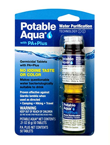 Potable Aqua Water Purification Tablets With PA Plus - 50 Ct