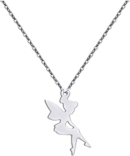 Stainless Steel Love Angel Wings Fairies Jewelry Pendant Necklace for Princess Girls Women