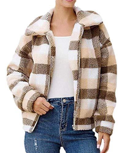 SOWTKSL Damen Sherpa Fuzzy Mantel Fleece Reverskragen Reißverschluss Jacke Outwear Gr. Large, 2