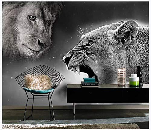 Apoart 3D Behang IKEA Stijl Zwart en Wit Kunst Leeuw Eenvoudige Gereedschap Achtergrond Muur 140X100cm(55.11by39.37in)