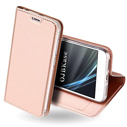 OJBKase Redmi 4X Hülle, Premium Slim PU Leder Handy Schutzhülle [Standfunktion] Hülle/Cover/Brieftasche/Ledertasche Bookstyle Tasche Lederhülle Handyhülle für Xiaomi Redmi 4X (Roségold)
