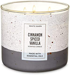 Bath & Body Works White Barn Cinnamon Spiced Vanilla Candle 3 Wick with Essential Oils 14.5 oz/411g with Decorative Lid