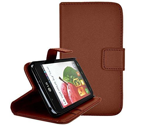 gada - Handyhülle für LG Optimus L7 II P710 - Schicke Leder-Imitat Tasche Flipcase Wallet mit Magnetverschluss & Standfunktion - Braun