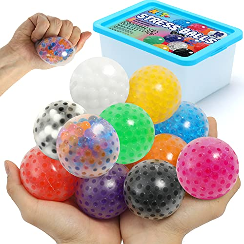 KLT Sensory Stress Ball Set, 12 Pack Stress Relief Fidget Balls for Kids/Adults to Relax with Water...