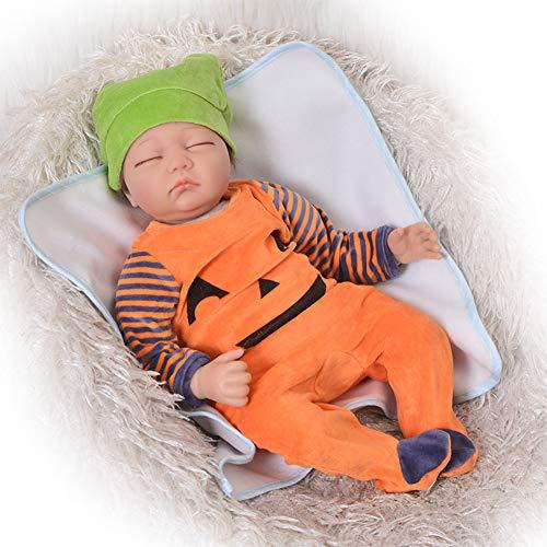 Lebensechte Reborn Babypuppe 22 Zoll 55 cm Vinyl Silikon Schlafen Neugeborene Jungen Mit Freiem Magneten Schnuller Spielzeug Geschenke Fauay,B