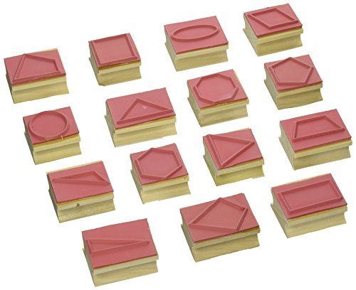Ready 2 Learn Geometric Shape Stamps - 2D - Set of 15 - Wooden Stamps for Geometry and DIY Activities - Use for Flashcards, Worksheets, Homework and Scrapbooks
