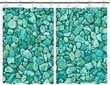 JISMUCI Cortinas para Cocina Pebble Acuario Textura Naturaleza Abstracto Roca Grava Aire libre Natural Cortinas de ventana Ganchos de metal Juego de 2 paneles para decoración de café de casa 140x100CM