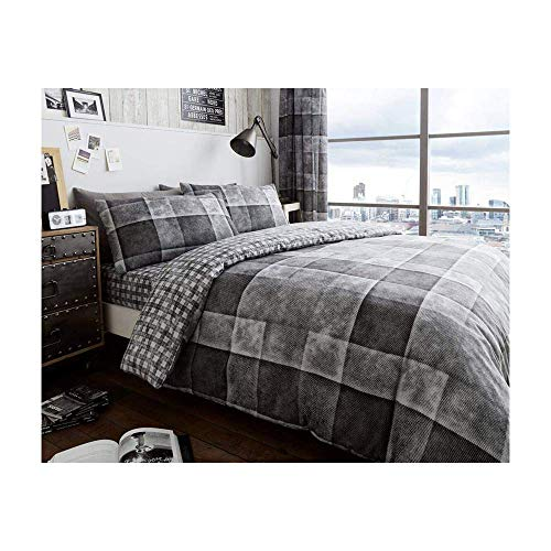 Duvet Cover Set Double Size Bed with Pillowcases Quilt Printed Reversible Poly Cotton, Denim Check Grey