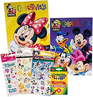 Disney Mickey and Minnie Mouse Coloring Books and Stickers Deluxe Activity Set for Kids Toddlers - Bundle Includes 2 Color...