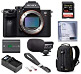Sony Alpha a7R III Full-Frame Mirrorless Digital Camera (Body Only), Essential Bundle with Backpack, Extra Sony Battery, Charger, Marantz Mic, 128GB SD Card, Wrist Strap, LCD Protector