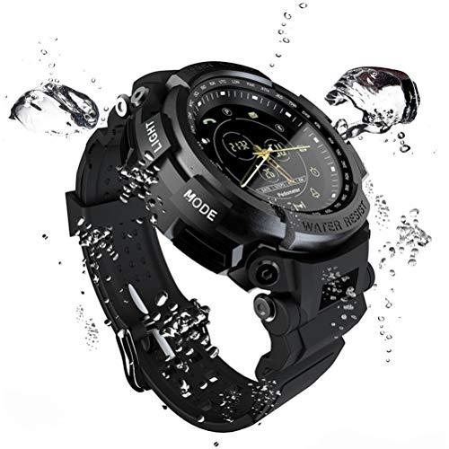 Jungen-Sport-Uhr, Außen Bluetooth 4.0 Smart Watch, wasserdicht Pedometer Gummibügel Geeignet für Bergsteigen,Schwarz