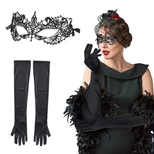 LAMEK 2 Pcs Máscara de Encaje Negro Máscara de Mascarada Veneciano Antifaz Sexy Eye Mask Guantes Elegantes de Retro Accesorios de Disfraces para Mujeres Carnaval Baile Halloween Fiestas Cosplay