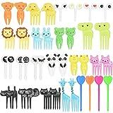 DECARETA 40 palillos de dientes de animales para alimentos y frutas, mini lindos palillos de dientes de dibujos animados para decoración para fiestas infantiles
