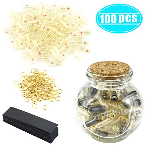 Hslife 100 Pcs Blcak Love Capsules, Letters Message Letters Message Wish Bottle, Birthday Present...