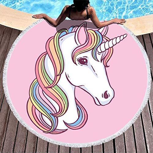AEMAPE Toalla de Playa Redonda Grande Unicornio Arco Iris Manta de Playa de Microfibra con borlas Manta de Picnic Manta de Playa Tapiz de Tela de Mesa Rosa 59 Pulgadas
