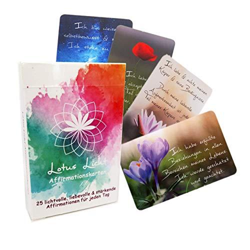 Inspirationskarten 25 Lotus Licht Affirmationskarten mit positiven Gedanken für jeden Tag Achtsamkeitskarten Mantra Kartenset Lebenskarten Tageskarten