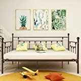 Metal Daybed Frame Twin Metal Slats Platform Base Box Spring Replacement Bed Sofa for Living Room Guest Room (Twin, Bronze)