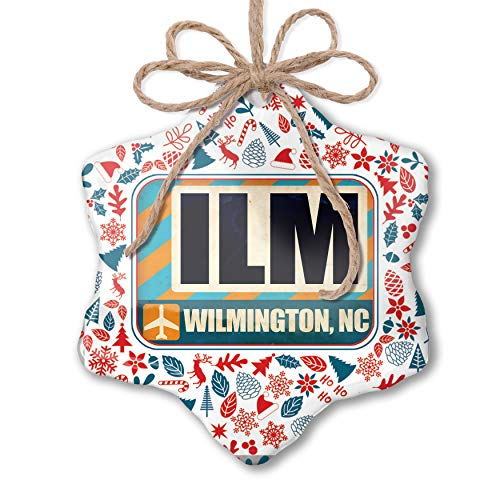 NEONBLOND Christmas Ornament Airportcode ILM Wilmington, NC Red White Blue Xmas