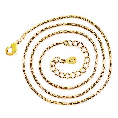 TUANTALL Schlangenkette Halskette, 24 Karat Goldkette, Panzerkette Halskette, Verlängerungskette, Länge 40 cm + 5 cm