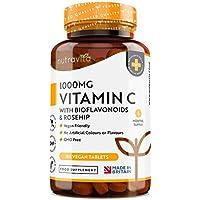 Vitamina C de 1000 mg con Bioflavonoides y Rosa Mosqueta - 180 Comprimidos Veganos - Suministro para 6 Meses - Contribuye al Mantenimiento Adecuado del Sistema Inmunitario - Elaborado por Nutravita