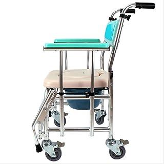 Lunzi Aleación de aluminio plegable, silla de ruedas portátil mayor y asiento de inodoro para