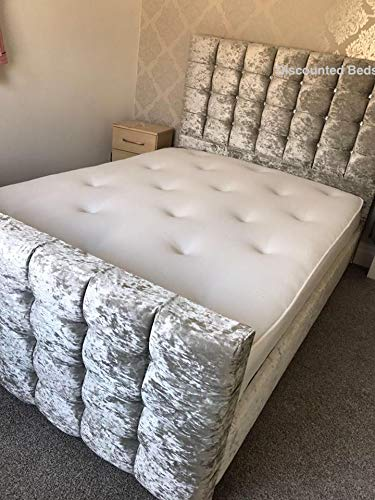 Discounted Beds Modern Cube Crushed Bed Frame, Crushed Velvet Material, Handcrafted In The UK. 3ft, 4ft, 4ft6, 5ft, 6ft (King 5ft)