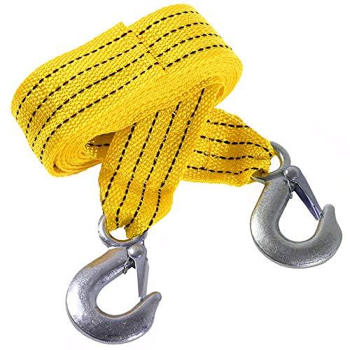 Cuerda Remolque para AutomóVil Rescate Cinturón De Emergencia - Naranja Llamativo, 5cmx4m, Prueba 3 Ton Resistencia a La Rotura, 1 Ton Resistencia Deformación, Cuerda Servicio Ligero con Gancho
