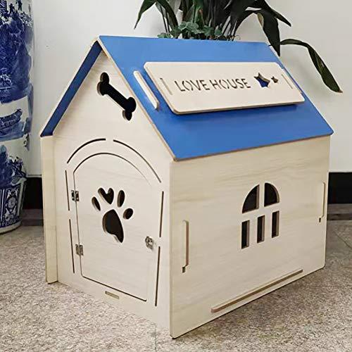 Zhyaj Hundezwinger Draußen Wetterfest Teddy Hunde Villa Holz DIY Hundehütte Wetterfest Isoliert,Blau,515 * 685 * 720mm