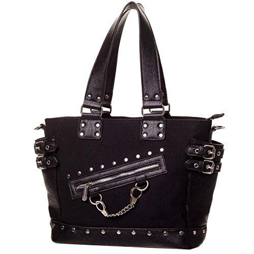 Banned Gothic Damen Handtasche - Schultertasche Handschellen, Nieten und Schnallen (Schwarz)