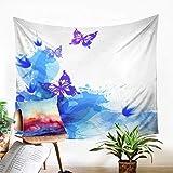 Odot Wandteppich Wandtuch Wandbehang, SchmetterlingKreativ Drucken Tapisserie Tischdecke Yogamatte Strandtuch von Zuhause Wanddekorationen (150x130cm,Krawatten färben)